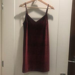 Maroon Velvet Slip Dress